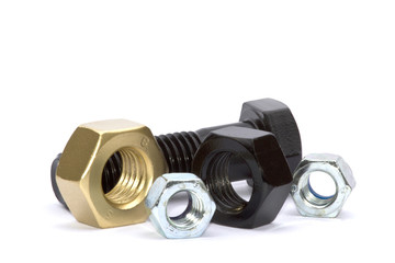 Assorted Nuts and Bolts, Gold,Black,Silver