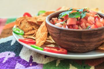 Nachos with fresh homemade hot salsa