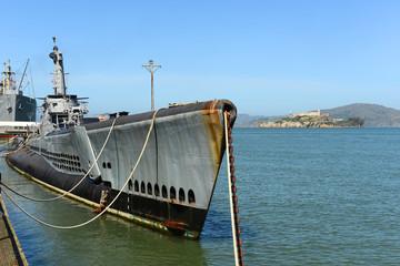 USS Pampanito submarine and Alcatraz Island, San Francisco