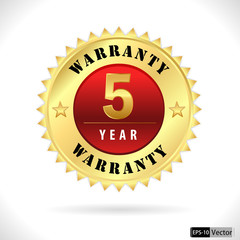 gold top quality 5 year warranty badge- vector eps 10