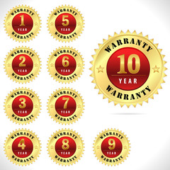 gold top quality warranty badge from 1 to 10 year- vector eps 10