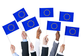 Business People Holding European Union Flags