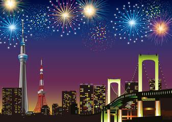 東京夜景 花火
