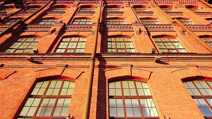 Facade of a red brick building