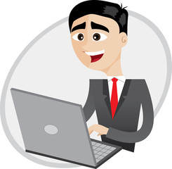 cartoon businessman using computer laptop