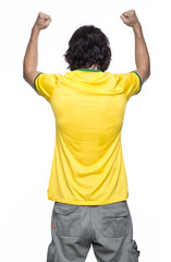 man back with brasil jersey
