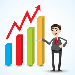 cartoon businessman with growing chart