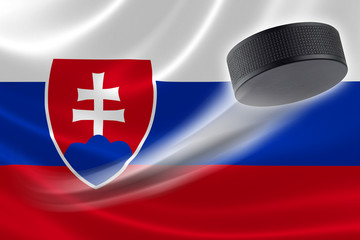 Hockey Puck Streaks Across Slovak Republic's Flag