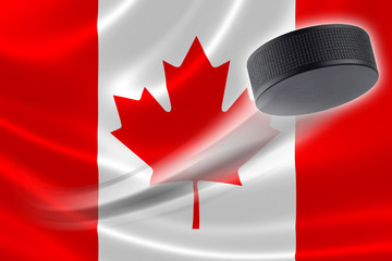 Hockey Puck Streaks Across Canadian Flag