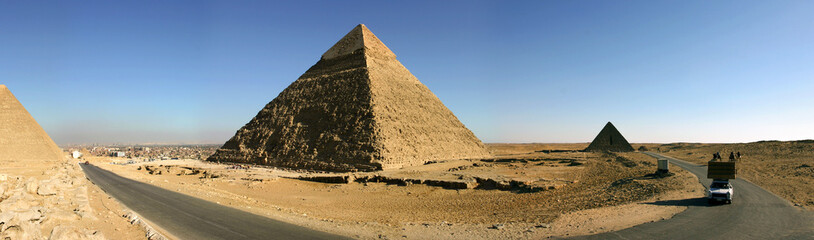 Panorama of the pyramids of Giza