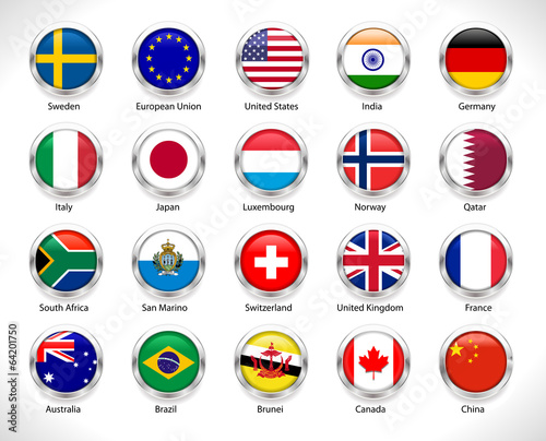 A collection of world flags badge  - vector eps10