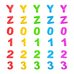 English Colorful Alphabet and Number