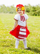 ������, ������: Happy girl in russian traditional folk clothes