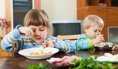 Two  siblings eating food together