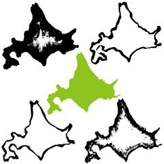 北海道 地図 手書き 筆絵