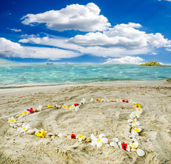 Flower heart on a beautiful Caribbean beach :)
