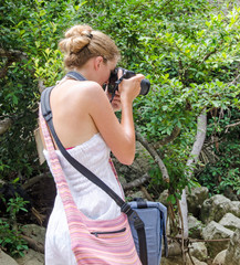 Young woman taking photos in the jungle :)