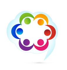 Teamwork cloud people logo vector