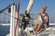 canvas print picture - Frau arbeitet im Urlaub mit dem Laptop