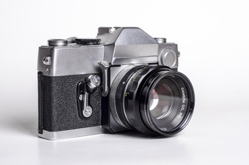 Vintage SLR camera front right side view