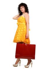 brunette in a yellow dress