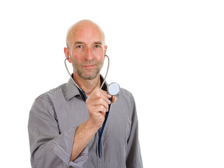 Doctor holding stethoscope forwards