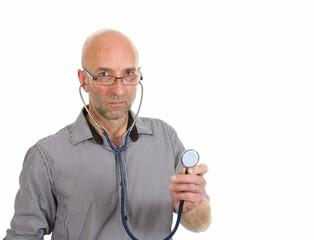 Doctor with glasses holding stethoscope