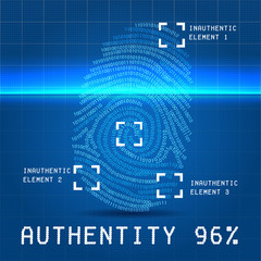 Digital authentity finger scan vector illustration