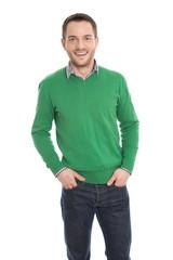 Junger motivierter Businessmann isoliert in Pullover grün