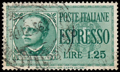 Stamp shows a Portrait of Victor Emmanuel III