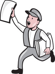 Newsboy Selling Newspaper Cartoon