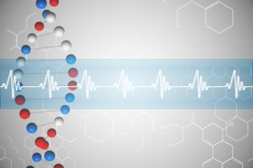 DNA helix in blue and red with ECG line