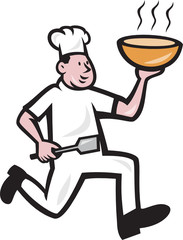 Chef Cook Running Holding Bowl Cartoon