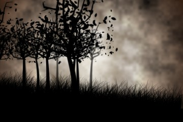 Dark gothic scene with trees