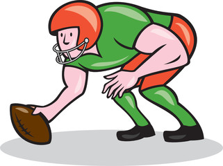 American Football Center Snap Side Cartoon