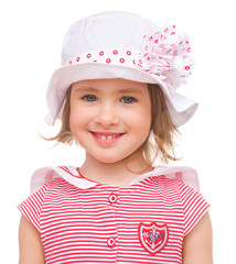 Little girl in summer hat.