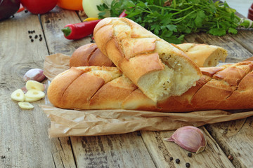 Close up of crunchy garlic baguette
