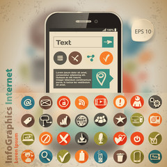Template for infographic with smartphone and icons in vintage st