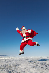 Jumping Santa Claus  outdoors
