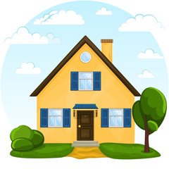 Vector cute cartoon house