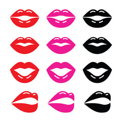 Lips, kiss red, pink and black glossy icon