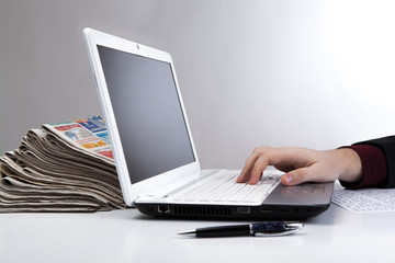 human hand on the notebook keyboard 6