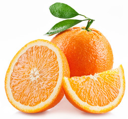 Oranges with slice and leaves isolated on a white background.