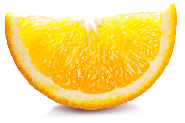 Orange slice on a white.