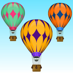 Vector cartoon air balloons