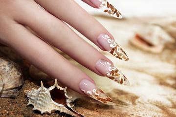 Дизайн ногтей с ракушками внутри.