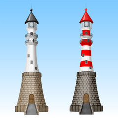 Vector white and red lighthouses