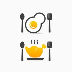 Kitchenware egg chicken icon logo sign