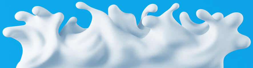 Milk cream splashes. Frontal view. Isolated on blue