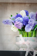 Retro setting with blue hyacinths